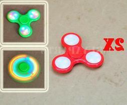 2x Red Tri Hand Finger LED light Figet Spinner Figit Spin Po