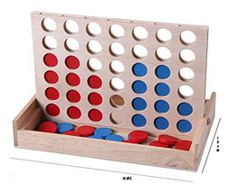 Wooden Games, Travel Board Game Foldable Line up 4 Toy For F