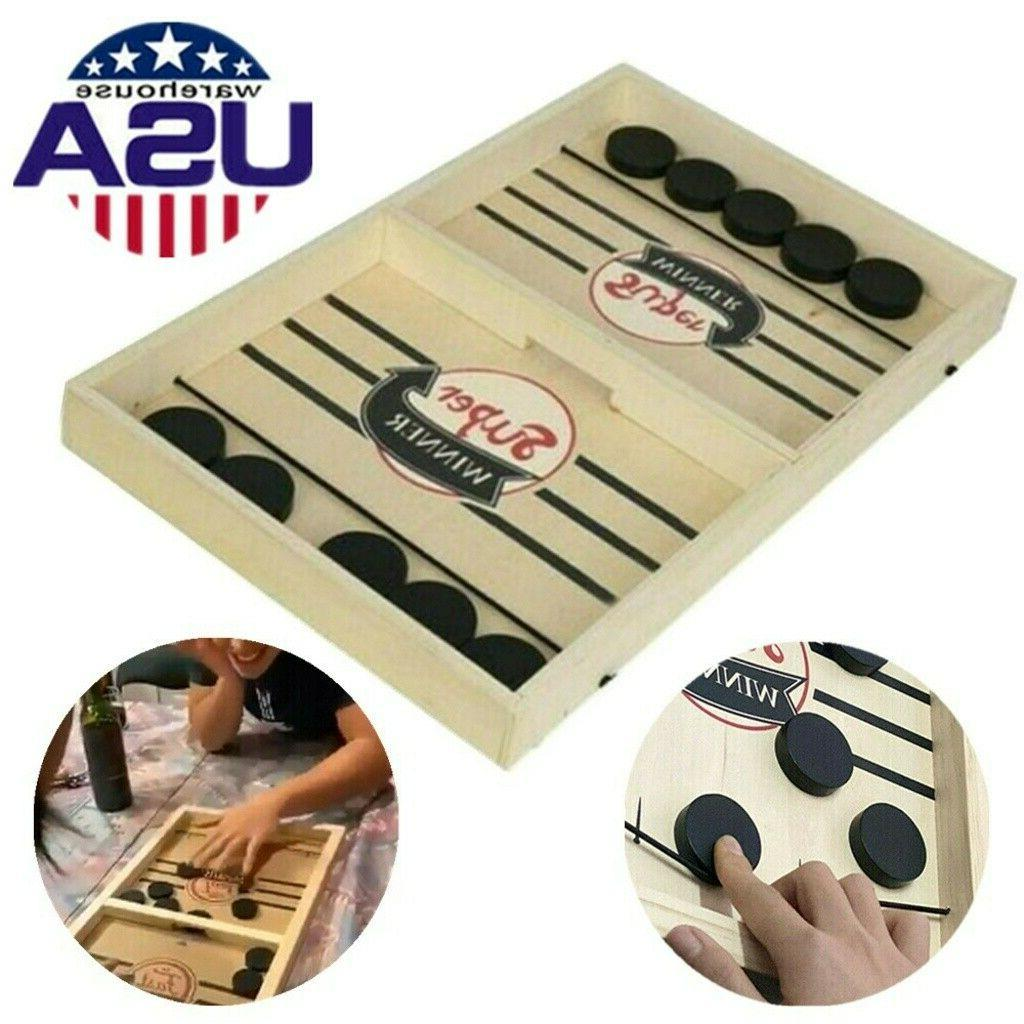 Fast Sling Puck Wooden Board Table Game Party