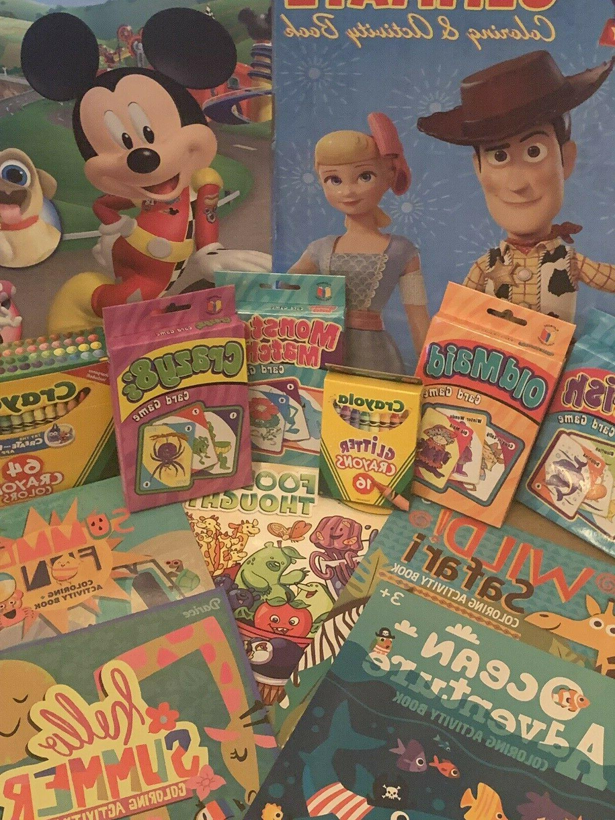 Kid's games, crayola crayons, and stickers lot 17