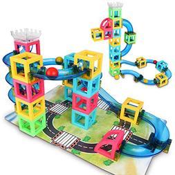 GAMENOTE Magnetic Blocks with Marble Run Game - 32pcs STEM L