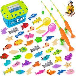 Magnetic Fishing Game 47 pcs,Kids Toys for Table, Bathtub, P