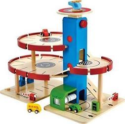 multi ramp wooden toy car garage