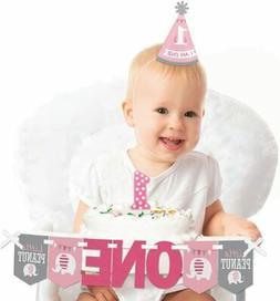 Pink Elephant 1st Birthday - First Birthday Girl Smash Cake