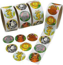 Kicko Zoo Animal Sticker Roll for Kids - 4 Rolls - 400 Assor
